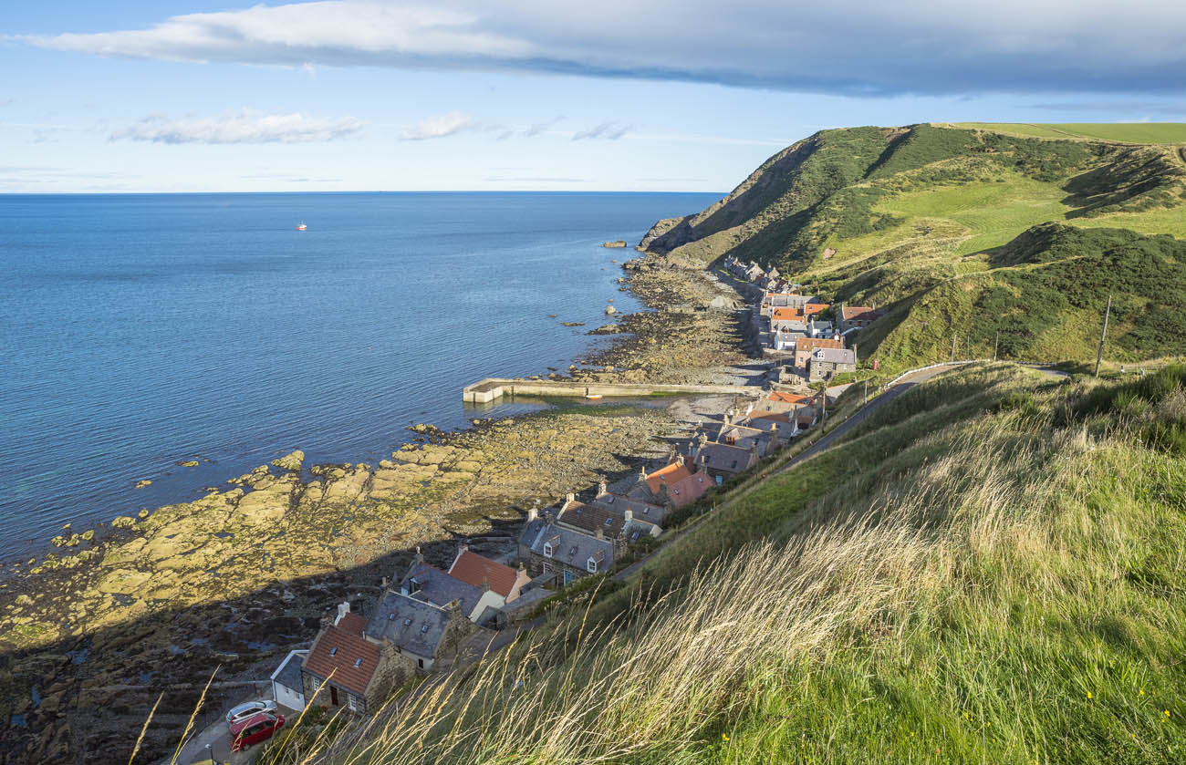 The harbour village of Crovie which lies on the north coast of Aberdeenshire between Fraserburgh and Macduff